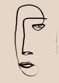 A portrait illustration by Loulou Avenue. Poster Designer - Liv Ann van der Laan also know as Loulou Avenue is a Dutch visual artist. Line Art, Frida Art, Art Vintage, Vintage Art Prints, Vintage Posters, Vintage Drawing, Kunst Poster, Portrait Art, Vintage Portrait