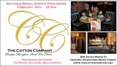 Annual Bridal Show At The Cotton Company is Sunday, Feb. 16th.  Sign up now.