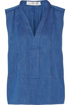 Victoria Beckham Denim Pleated cotton-chambray top | NET-A-PORTER
