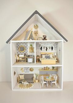 This is an unique handmade modern miniature scale Doll house. This charming Little Doll house is handmade from wood. The colors and style of the House are designed for girls or boys to play with them. We sawn wood at the exact measurement and them we Ikea Dollhouse, Wooden Dollhouse, Victorian Dollhouse, Wooden Dolls, Dollhouse Miniatures, Dollhouse Kits, Dollhouse Dolls, Miniature Furniture, Dollhouse Furniture