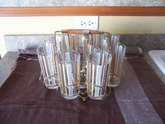 Vintage Glassware Ice Bucket Tongs and Caddy  by mimishomefashions, $69.95