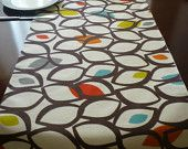 "Retro Orange Table Runner Multi and White Funky Cotton (54"" 137cm)"