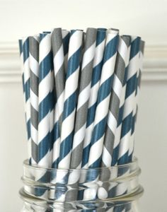 25 Paper Straws, NAVY  GRAY, Drinking Straws, Cake Pops, Party favors