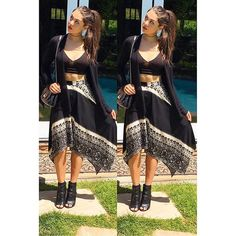 Kira Kosarin rocked a pretty, flowy outfit in her new Instagram photo collage. Her boho skirt and sporty bra top made the perfect combination.