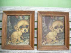 Vintage Gig Sad Big Eye Dog Pity Puppy Art Print Pictures Golden Boy   eBay