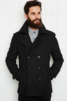 3fc9a44d2b8f Urban Outfitters Selected Homme Mercer Double Breasted Peacoat - Lyst......  yes please!!