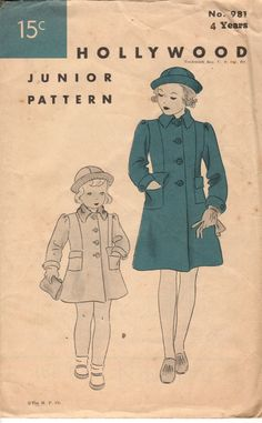 1930's-40's Child's/Girl's Coat and Hat Hollywood Pattern #981