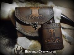 Leather Belt Pouch Yggdrasil - Tree of Life - Celtic - Viking Inspired - Festival / Bushcraft Possibilities Bag