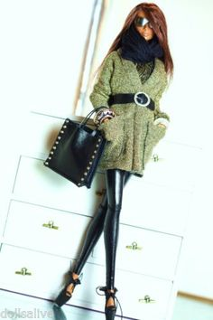 dollsalive outfit,for fashion royalty, fr2 black and gold, leather shoes, bag
