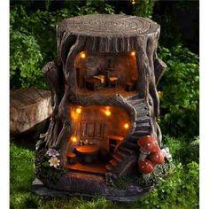 Large Solar Fairy Tree Stump House – Keep up with the times. Fairy Tree Houses, Fairy Village, Fairy Garden Houses, Solar Fairy House, Gnome Tree Stump House, Diy Fairy House, Large Fairy Garden, Gnome House, Gnome Garden
