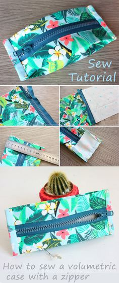 How to Sew Pencil Case with Zipper ~ DIY Sew Tutorial ~ How to sew for beginners. Step by step illustration tutorial. How to Sew Pencil Case with Zipper / DIY Sew Tutorial Sewing Hacks, Sewing Tutorials, Sewing Crafts, Sewing Patterns, Sewing Tips, Quilting Patterns, Bag Sewing, Free Sewing, Sewing Case