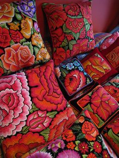 Assorted embroidered Mexican pillows #pillows #embroidered #Mexican