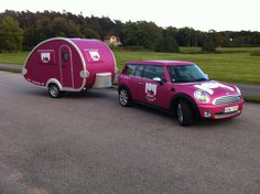 Mini Cooper and T@b wrapped with pink matt metallic film. #carwrap #minicooper
