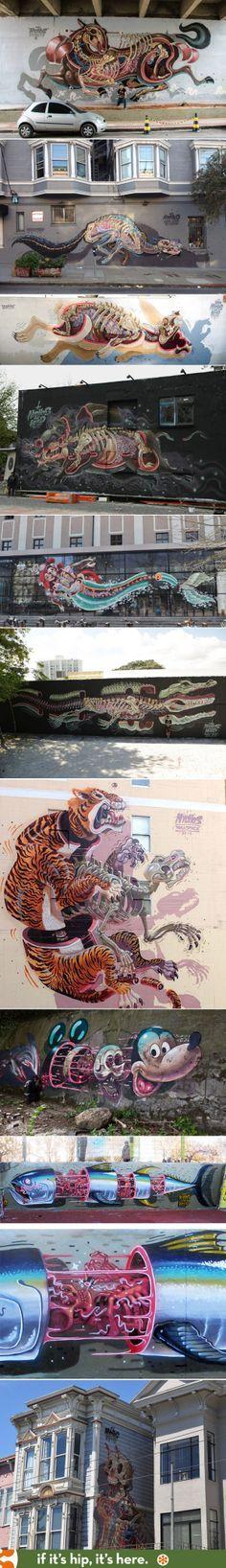A look at the work of street Artist NYCHOS. Este arte es lo que le da color al mundo ^▽^
