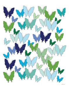 Cool Butterfly Pattern Print by Avalisa at Art.com