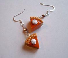 Slice of Pumpkin Pie Beaded Earrings by teensyturtle on Etsy, $8.00