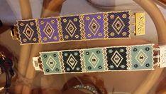 purple and dark blue delica-miyuki beads, swarovski Peyote Beading, Beaded Bracelet Patterns, Bead Loom Patterns, Peyote Patterns, Loom Bracelets, Swarovski, Handmade Beaded Jewelry, Bead Weaving, Groomsmen