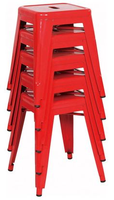 "Red 18"" Tolix Style Stools. Also available in more colours! Find them online! www.antiquesdirect.ca"