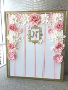 Pink and Ivory paper flower backdrop by Anita Tulsie