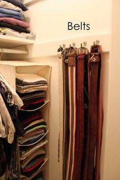 Belt storage for the closet. Closet Bedroom, Master Closet, Closet Space, Walk In Closet, Belt Storage, Closet Storage, Closet Organization, Organizing Belts, Closet Hacks