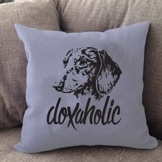 """Our Doxaholic pillow is 16"""" x16"""" in size with a zipper cover for easy cleaning. Printed on both sides — Made in USA."""