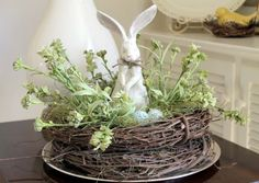 "DIY w/ tutorial...just stack 2 grapevine wreaths to make a ""nest"" for a Spring centerpiece"