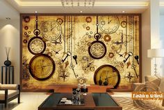 19.94$  Buy now - http://alicvh.shopchina.info/go.php?t=32789199050 - Custom vintage travel world map wallpaper mural clock key compass pocket watch tv sofa bedroom living room cafe bar restaurant  #aliexpressideas