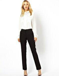 Image 1 - ASOS - Pantalon droit avec poche passepoilée