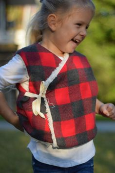 Reversible Fur & Flannel Plaid Flannel, Plaid Scarf, Red And Grey, Buffalo Plaid, Long Sleeve Tees, Vest, Fur, Cotton, Kids