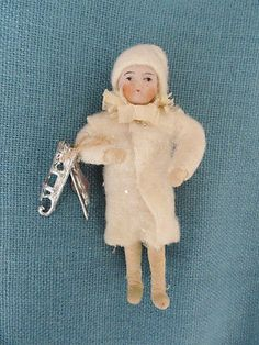 Antique German HEUBACH Christmas Ornament - SNOWGIRL WITH ICE SKATES