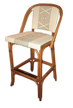 "WA HOO DESIGNS, FRENCH BISTRO BAR STOOL, HK-814, WEAVE: L1H1 ""X"" CENTERED, COLORS: IVORY & MOKA, WOOD FINISH: LIGHT HONEY"