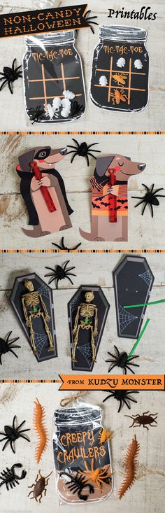 Easy Non-Candy Halloween treat ideas using toys from the Dollar Tree and printables from Kudzu Monster !  Use bubbles, pencils, toy bugs, little skeletons, and other fun toys!