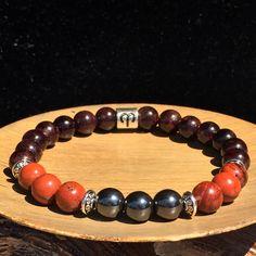 Men Aries Zodiac Bracelet, Stretch Bracelet, Garnet Bracelet, Jasper Bracelet…