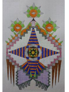 dibujo hecho con rotuladores a color sobre hoja de papel cuadrícula DinA4. Representadción de un jardin abstracto.