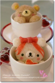 Rilakkuma Decorated Cup Rice by nob     #food #bento
