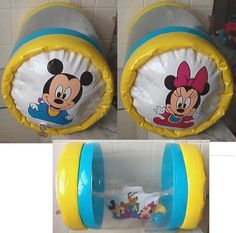 Vintage Shelcore Disney Mickey Peek-in-Roller Baby Inflatable w/ Inner Balls