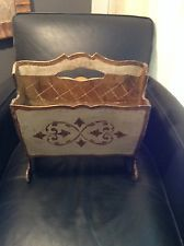 Vintage Italian Florentine Gilt Magazine Holder Rack ~ Hollywood Regency Wood