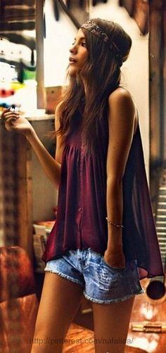 Sleeveless loose blouse and denim short. #bohemian ☮k☮ #boho
