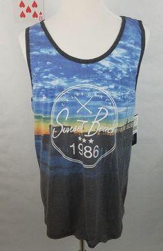 Ocean Current Mens XXL Shirt Sunset Beach 1986 California Tank Top Muscle NWT #OceanCurrent #ShirtsTops