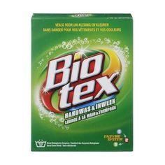 Alg en mos verwijderen met Biotex  Groene aanslag kan ook weggehaald worden met groene Biotex. Door de enzymen in de biotex worden alg en mos weggevreten.