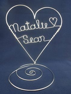 Standing Personalized Heart Wedding Cake Topper by heatherboyd, $26.00
