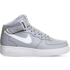 NIKE Air force 1 leather high-top trainers ($105) ❤ liked on Polyvore featuring shoes, sneakers, wolf grey white, grey sneakers, white sneakers, leather high top sneakers, velcro high-top sneakers and nike shoes
