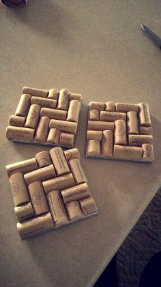 My homemade wine cork coasters!