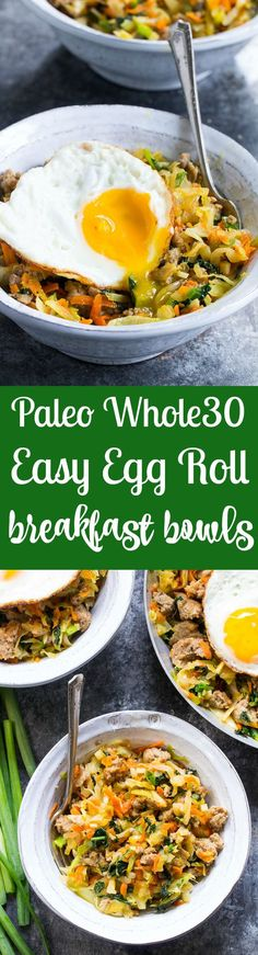 This breakfast spin on everyone's favorite egg roll in a bowl is quick and easy to make, super tasty and downright addicting! It's Paleo, low carb, and Whole30 compliant with pork breakfast sausage, simple and delicious seasonings and crispy fried eggs.