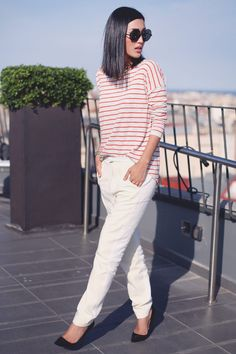 Nicole of Gary Pepper looks flawless in stripes and J BRAND Ready-To-Wear Trousers.