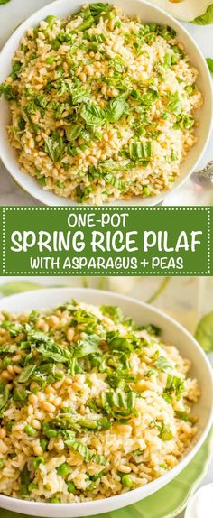 One-pot spring rice pilaf with asparagus and peas is a bright, fresh and easy side dish that's topped with Parmesan cheese, fresh basil and (optional) pine nuts! | www.familyfoodonthetable.com