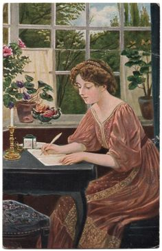 "This is a beautifully illustrated postcard by W. Röhling of a pretty woman writing at her desk. It's titled, ""To Him"" in German. The year appears to be 1911. At the top it says it's ""German Art"". It's published by Verlag von Gustav Liersch & Co, Berlin S.W."