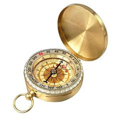Flammi Outdoor Camping Hiking Bronzing Antique Portable Flip Top Watch Style Pocket Compass