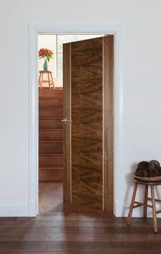 Captivating Salamanca Walnut Bespoke   Contemporary Style Door For Modern Homes  Features A Solid Maple Inlay
