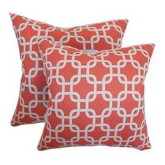 "Set of two cotton pillows with links motifs. Made in the USA.  Product: Set of 2 pillowsConstruction Material: Cotton cover and high fiber polyester fillColor: Coral and whiteFeatures:  Inserts includedHidden zipper closureMade in the USA Dimensions: 18"" x 18"" eachCleaning and Care: Spot clean"